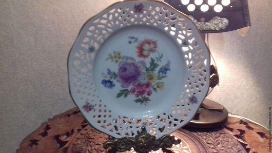 Винтажная посуда. Ярмарка Мастеров - ручная работа. Купить Тарелка фарфоровая. Handmade. Белый, Настенная тарелка, винтажный фарфор, германия