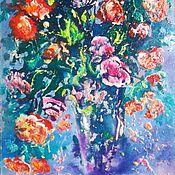 """Картины и панно handmade. Livemaster - original item Картина маслом цветы 41/59 """"Я подарю тебе букет"""". Handmade."""