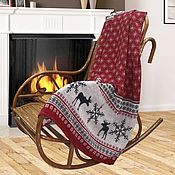 Blankets handmade. Livemaster - original item CHRISTMAS PLAID LAPLAND WITH A MOOSE MADE OF NATURAL LINEN. Handmade.