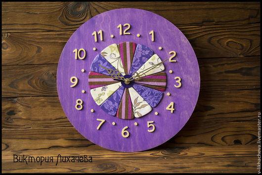 """Часы для дома ручной работы. Ярмарка Мастеров - ручная работа. Купить Часы """"Фиолетовые дольки"""". Handmade. Фиолетовый, полимерная глина"""