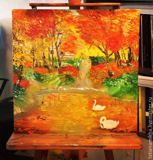 """Пейзаж ручной работы. Ярмарка Мастеров - ручная работа. Купить Осенний пейзаж - """"Золотая осень"""". Handmade. Рыжий, осенний пейзаж"""