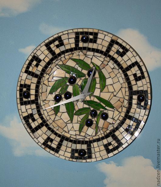 Часы для дома ручной работы. Ярмарка Мастеров - ручная работа. Купить Настенные часы в технике мозаика Греция вариант 2. Handmade.