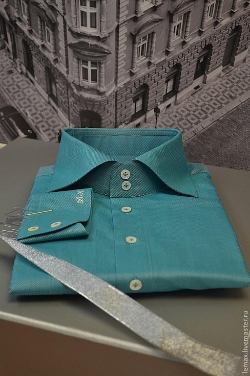 Для мужчин, ручной работы. Ярмарка Мастеров - ручная работа. Купить Мужская сорочка (ВК). Handmade. Мятный, монограмма, подарок