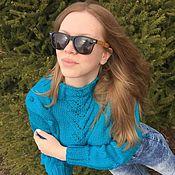 Одежда ручной работы. Ярмарка Мастеров - ручная работа Короткий свитер с косами и ажурами. Handmade.
