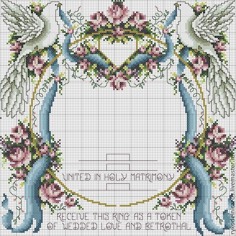 Свадебные голуби схема для вышивки
