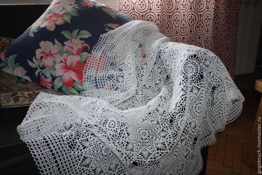 Текстиль, ковры ручной работы. Ярмарка Мастеров - ручная работа. Купить Скатерть ажурная. Handmade. Белый, юбилей, кружево