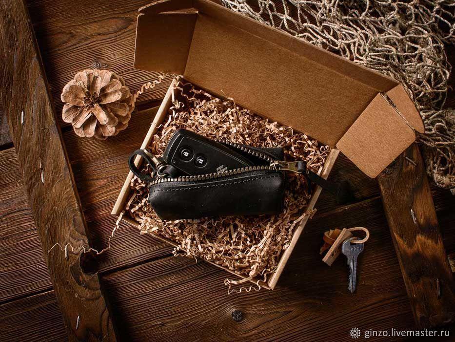 Ключница из натуральной кожи OLD SCHOOL черного цвета, Ключницы, Тула,  Фото №1