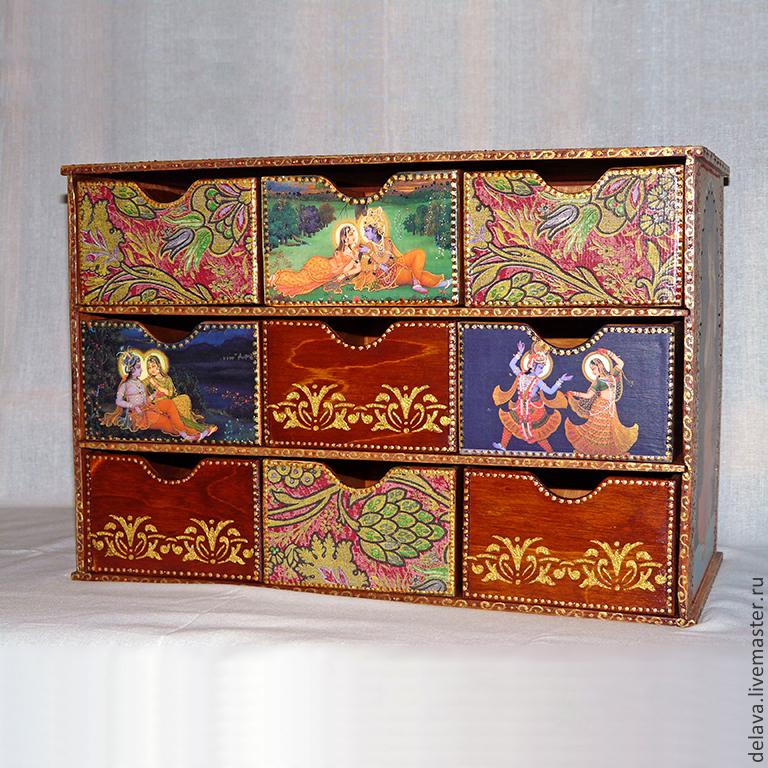 """Мини-комоды ручной работы. Ярмарка Мастеров - ручная работа. Купить Мини-комод """"Индийский эпос"""". Handmade. Индия, большой, Радха"""