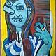 Символизм ручной работы. Заказать Selfie Картина маслом на холсте в стиле Пикассо. Yotsu. Ярмарка Мастеров. Современность, фото, инстаграм