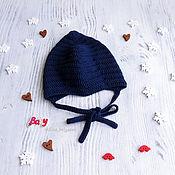 Работы для детей, handmade. Livemaster - original item cap hat for newborn baby boy knitted, blue, 0-1 months. Handmade.