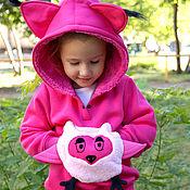 Одежда handmade. Livemaster - original item Pink hoodie for girls, children`s hoodie Owl with ears. Handmade.
