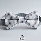 Аксессуары handmade. Livemaster - original item Tie butterfly charm / white butterfly tie in grey plaid and polka dots. Handmade.