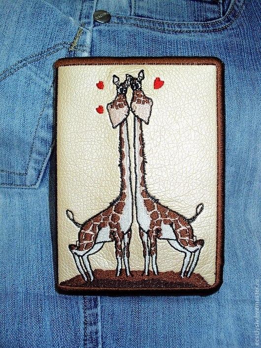 """Обложки ручной работы. Ярмарка Мастеров - ручная работа. Купить Обложка для паспорта """" Влюблённые жирафы """". Handmade. Паспорт"""