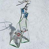 Серьги и кулон прозрачные Мартини Синий Красный Бутылка