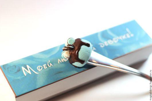 Ложки ручной работы. Ярмарка Мастеров - ручная работа. Купить вкусная ложка с тортиком макарунс в цветах Тиффани коричневый голубой. Handmade.
