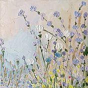 Картины и панно handmade. Livemaster - original item Flowers field oil painting by purple. Handmade.