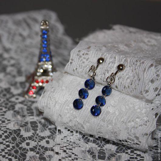 Клипсы (серьги) с кубическим цирконием `Небо над Парижем` размер=3,3см.