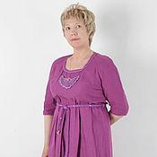 Одежда ручной работы. Ярмарка Мастеров - ручная работа платье миди Фуксия. Handmade.