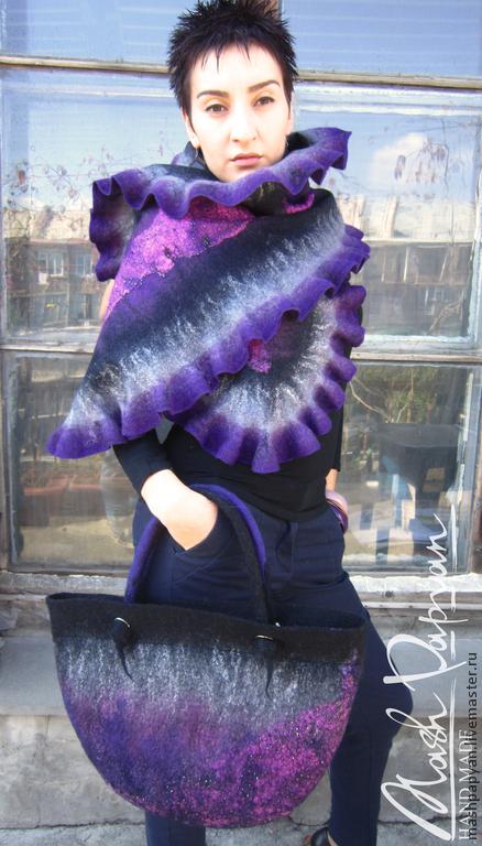 """Шали, палантины ручной работы. Ярмарка Мастеров - ручная работа. Купить Валяный палантин и сумка """" Ночная фиалка """". Handmade."""