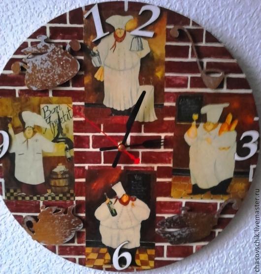 """Часы для дома ручной работы. Ярмарка Мастеров - ручная работа. Купить Часы настенные """"Итальянская кухня"""". Handmade. Коричневый"""