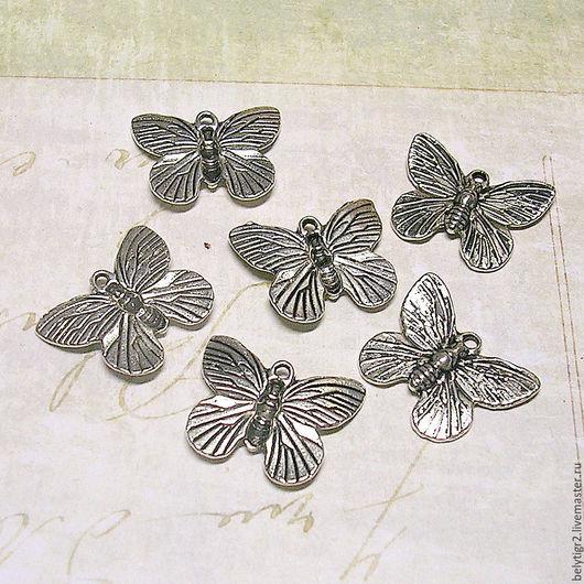 подвеска Бабочка, 18 х 15 мм, цинковый сплав, цвет серебро, 1 шт