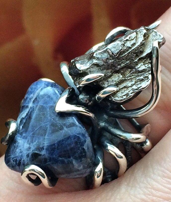 Кольцо с метеоритом и содалитом, Кольца, Пермь,  Фото №1