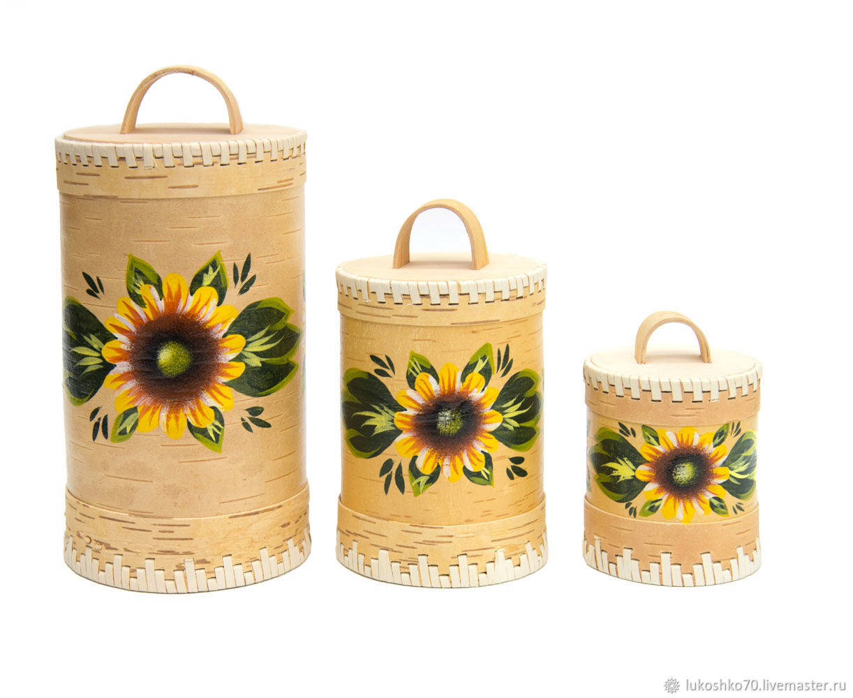 Set of painted tuesas ' Sunflowers'. For bulk products, Jars, Tomsk,  Фото №1