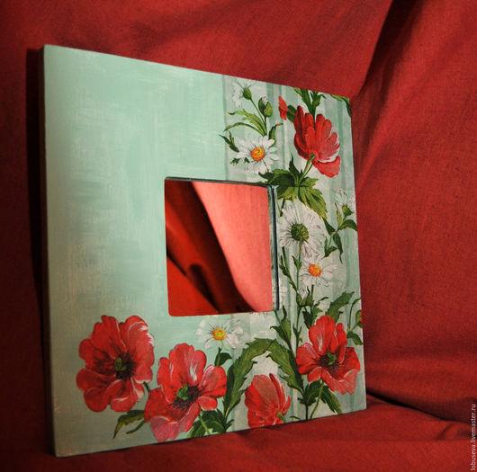 """Зеркала ручной работы. Ярмарка Мастеров - ручная работа. Купить Зеркало """"Маки"""". Handmade. Маки, акриловые краски, цветы"""