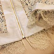 Одежда ручной работы. Ярмарка Мастеров - ручная работа Кожаный жакет с шантильи и жемчугом. Handmade.