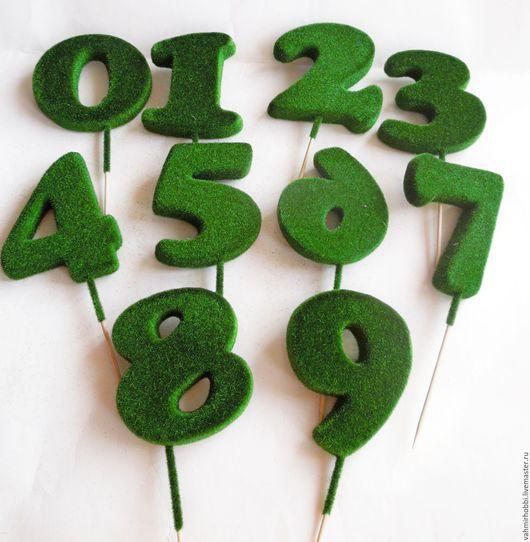 Другие виды рукоделия ручной работы. Ярмарка Мастеров - ручная работа. Купить Цифры покрытые мхом 12 см. Handmade.