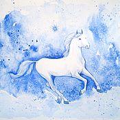 Картины и панно handmade. Livemaster - original item White horse pattern blue with white. element.. Handmade.