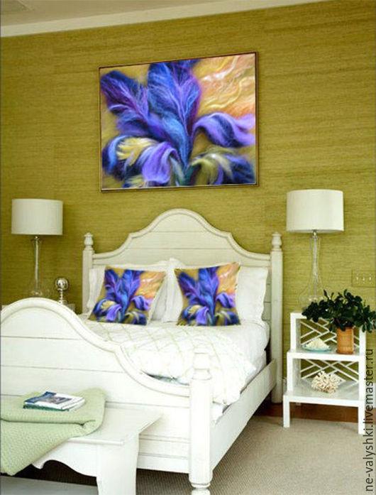 """Картины цветов ручной работы. Ярмарка Мастеров - ручная работа. Купить Картина из шерсти """"Ирисы"""". Handmade. Желтый, картина, цветы"""