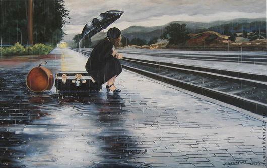 Люди, ручной работы. Ярмарка Мастеров - ручная работа. Купить Картина маслом. Домой!. Handmade. Город, девушка, зонтик