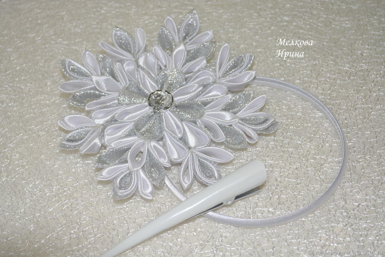 CLIPS: Snowflake kanzashi Christmas, Hairpins, Moscow,  Фото №1