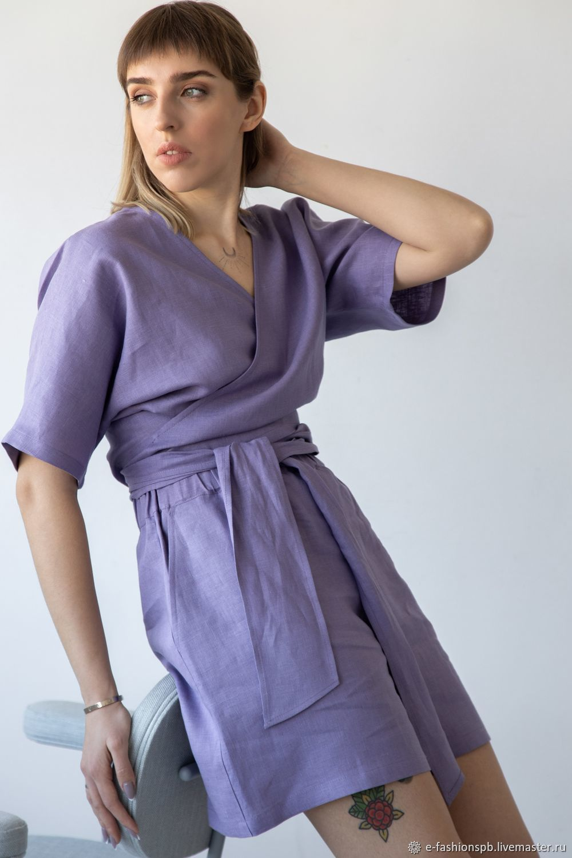 Льняной костюм цвета лаванды, Блузки, Санкт-Петербург,  Фото №1