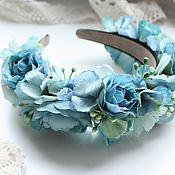 Украшения ручной работы. Ярмарка Мастеров - ручная работа Ободок с цветами в голубых тонах. Handmade.