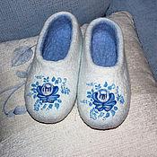 """Обувь ручной работы. Ярмарка Мастеров - ручная работа Домашние тапочки """"Гжель"""". Handmade."""