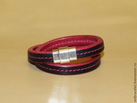 Браслеты ручной работы. Ярмарка Мастеров - ручная работа. Купить Кожаный браслет из кожи шнур черный, фуксия. Handmade. Фуксия