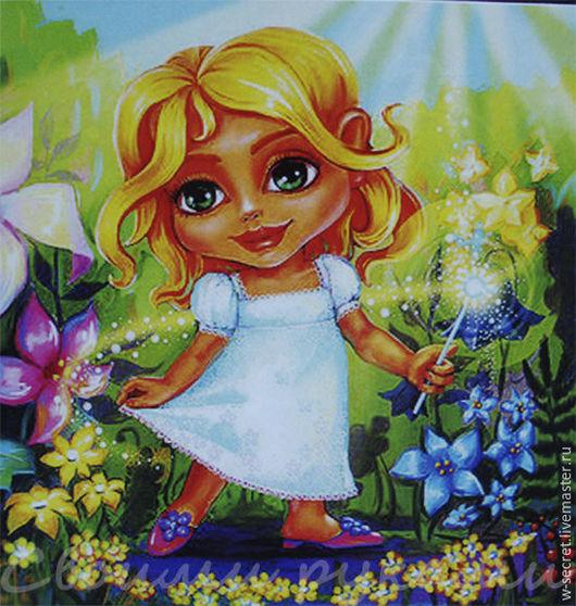 """Другие виды рукоделия ручной работы. Ярмарка Мастеров - ручная работа. Купить Скидка-30% 40х50 см алмазная мозаика """"Девочка мультяшка"""". Handmade."""