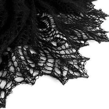 Аксессуары ручной работы. Ярмарка Мастеров - ручная работа Черная Ночь Шаль ажурная большая пуховая. Handmade.