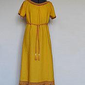 Dresses handmade. Livemaster - original item Linen dress with lace