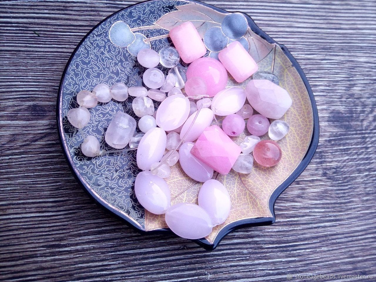 Микс бусин розовый кварц и жадеит с дефектами, Бусины, Армавир,  Фото №1