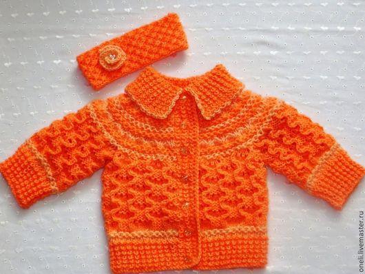 Одежда для девочек, ручной работы. Ярмарка Мастеров - ручная работа. Купить Жакет для малышки. Handmade. Оранжевый, однотонный, жакет для девочки
