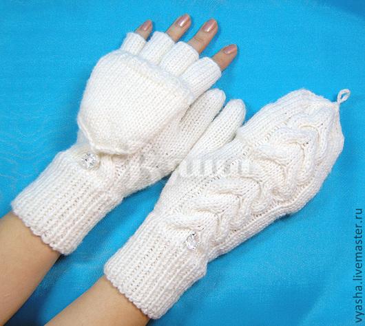 Варежки, митенки, перчатки ручной работы. Ярмарка Мастеров - ручная работа. Купить Варежки - трансформеры вязаные Любимые женские, зимние, теплые. Handmade.