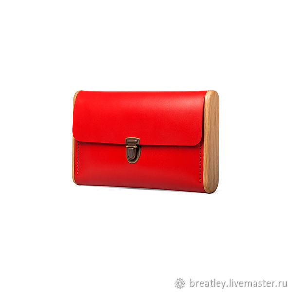 Leather clutch women's SINGLE REEL. Red leather and wood clutch, Clutches, Moscow,  Фото №1