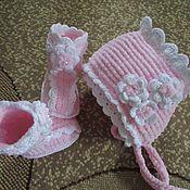 Комплекты одежды ручной работы. Ярмарка Мастеров - ручная работа Пинетки и шапочка для девочки, чепчик. Комплект на выписку, розовый. Handmade.