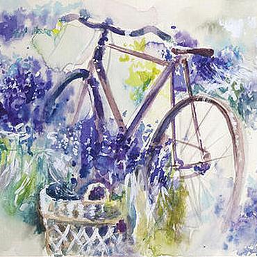 Картины и панно ручной работы. Ярмарка Мастеров - ручная работа Лавандовый велосипед. Handmade.