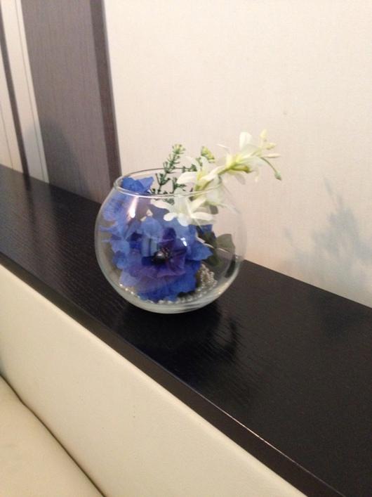 Интерьерные композиции ручной работы. Ярмарка Мастеров - ручная работа. Купить Синяя фантазия. Handmade. Цветы ручной работы, стекло