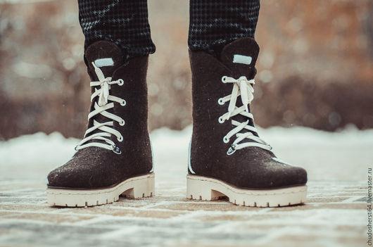 """Обувь ручной работы. Ярмарка Мастеров - ручная работа. Купить Ботинки валяные """"Зигзаг"""". Handmade. Коричневый, ботинки валяные"""