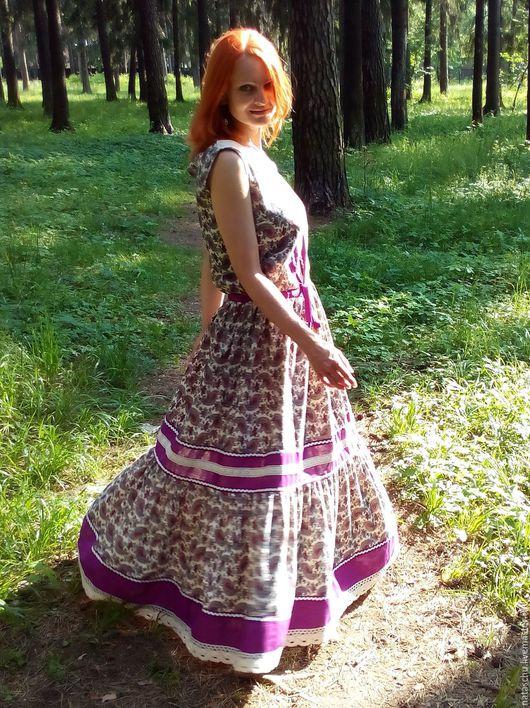 Платья ручной работы. Ярмарка Мастеров - ручная работа. Купить Летнее длинное платье в стиле бохо лавандового цвета. Handmade.
